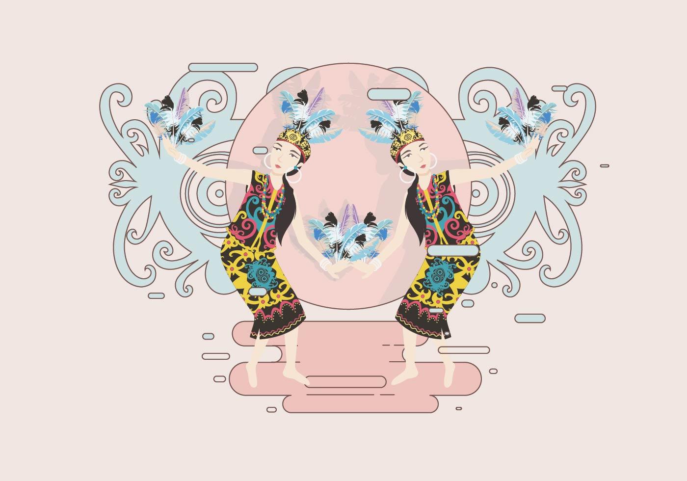 A_Female Dayak Dancer Vector-01